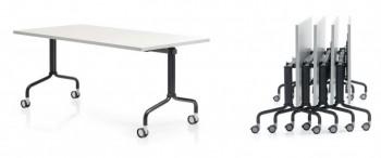 Corner Table plateau rabattable en mélaminé sur roulettes freinées